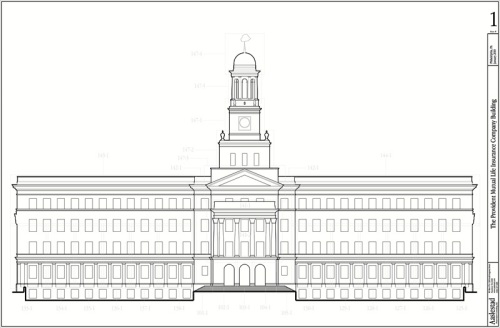 A simple line drawing delineates the real world size, shape and layout of the building and its components