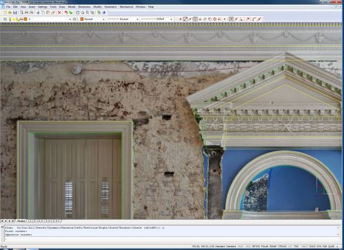 When a single image is rectified so that the masonry portions of the image match the real world size and shape of what is being depicted, features that are NOT co planar can be distorted, not matching real world conditions. This is one reason a mosaic approach was needed to cover all of the surfaces in question  accurately.