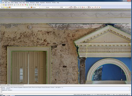 An Orthophoto (constructed from images from various points of view) depicts the masonry surfaces as well as the architectural detailing/millwork accurately.