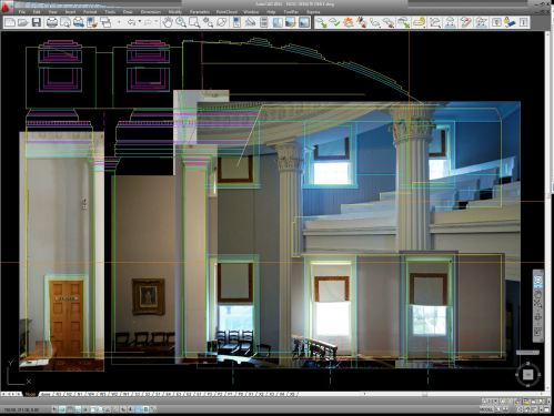 Hybrid Drawing: several panels of rectified photographic imagery organized spatially by a vector line drawing in AutoCAD