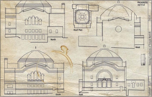 Progress Drawings for temple Beth El
