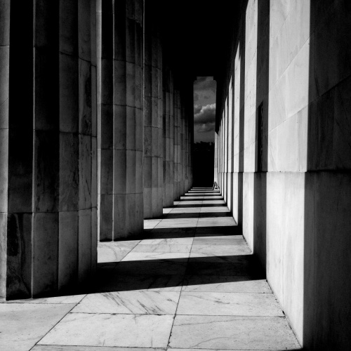 rear colonnade at the Lincoln Memorial in Washington, DC