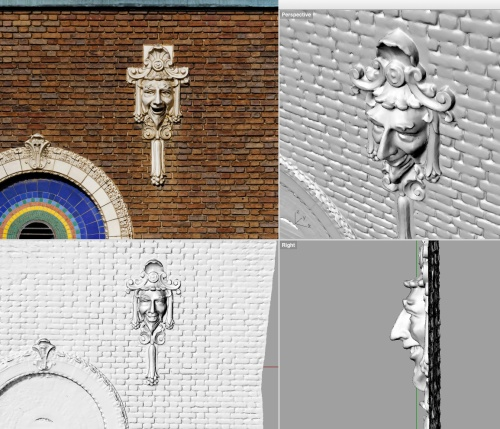 front, side, and perspective views of model/point cloud derived from photogrammetry