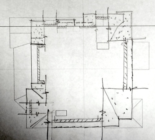 Attic plan drawn from orthophography