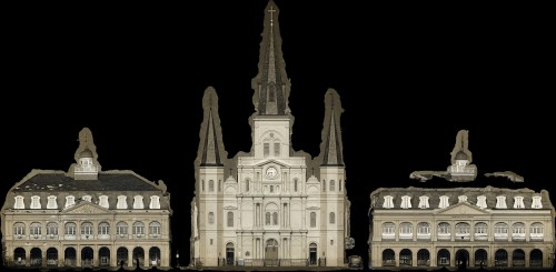Orthophoto of the Cabildo - St. Louis Cathedral - Presbetère facing Jackson Square